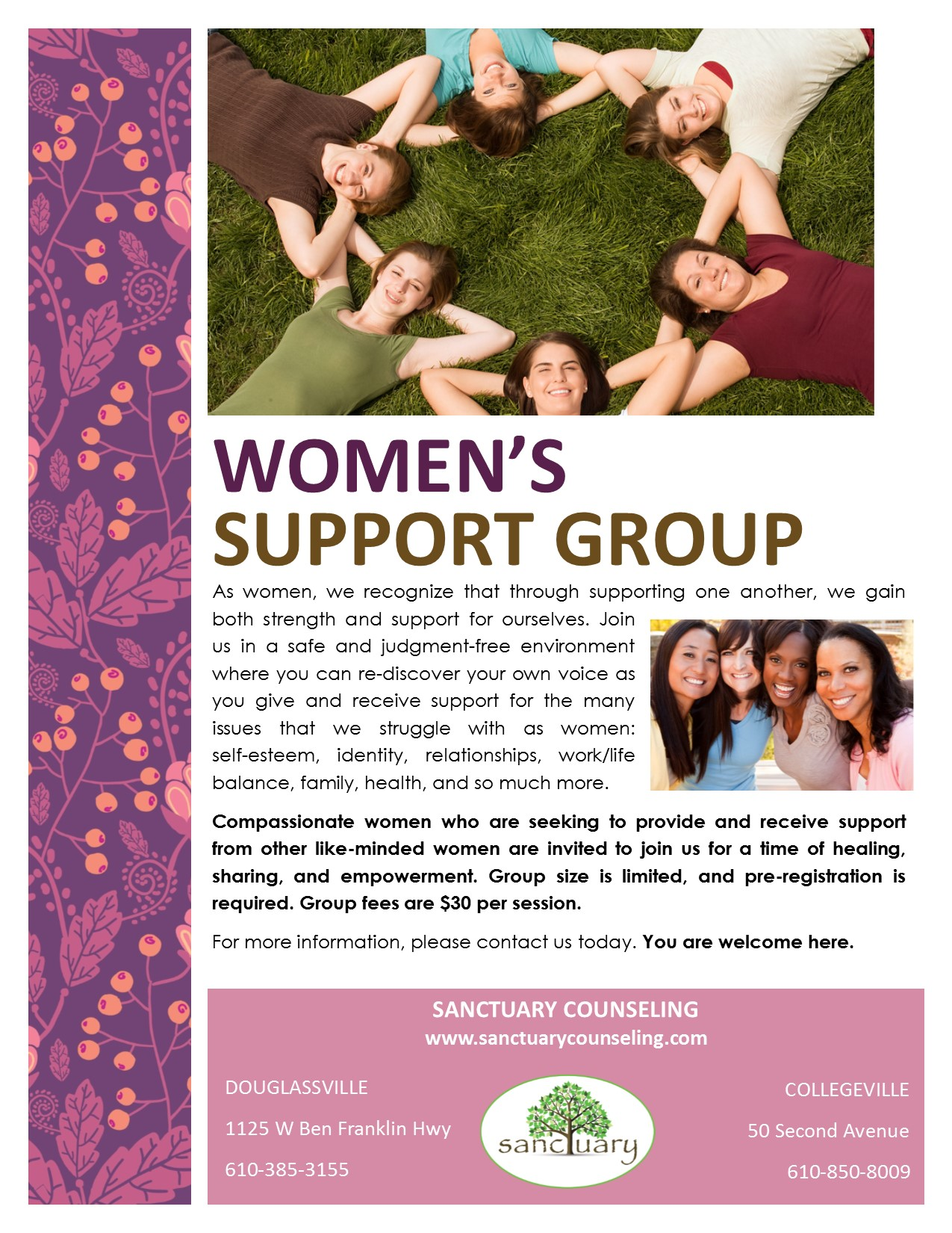 Women's Support Group Flyer