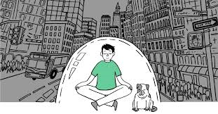 Mediating man surrounded by city