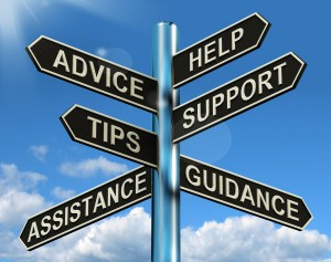 signpost with arrows toward advice, help, support, tips, guidance, and assistance