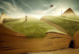 Surreal image of a child flying a kite on top of an open book